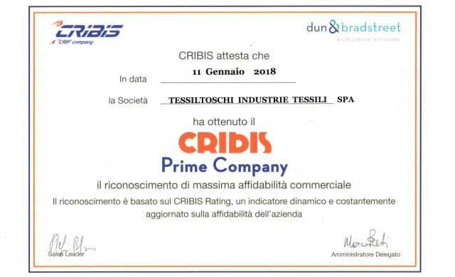 Tessiltoschi awarded by CRIBIS as 'Prime Company'