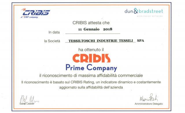 A Tessiltoschi il riconoscimento Cribis 'Prime Company'