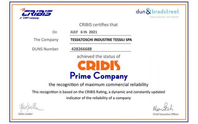 Tessiltoschi awarded by CRIBIS as 'Prime Company'