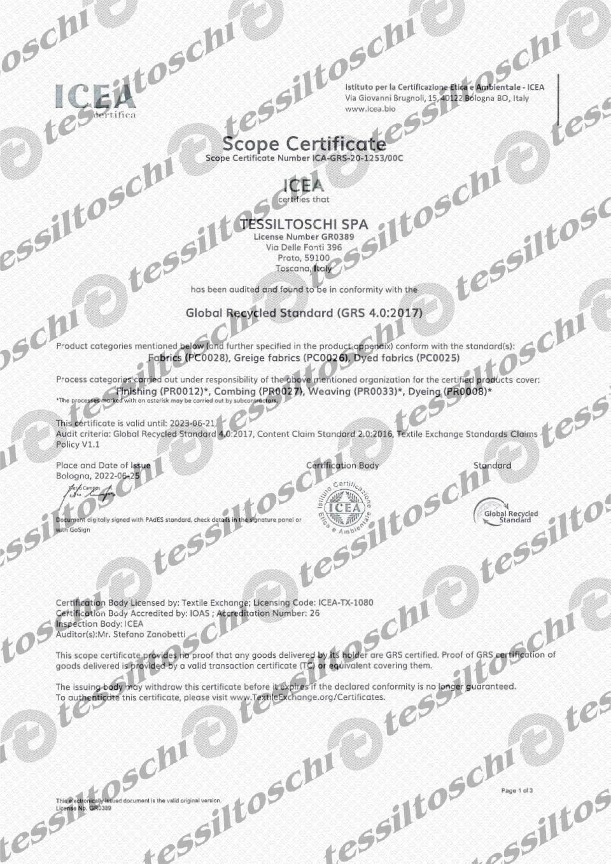 Tessiltoschi UNI-ISO Certified