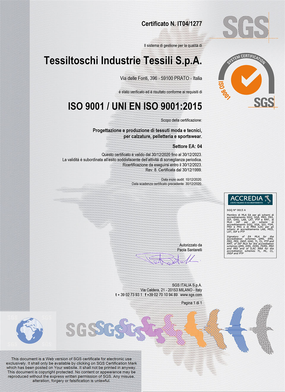 Tessiltoschi UNI-ISO Certified